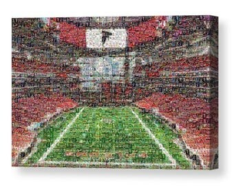 Unique Atlanta Falcons Mosaic Art Print of Mercedes-Benz Stadium made of 289 Player Card Images.  All the Great Past and Present Stars.