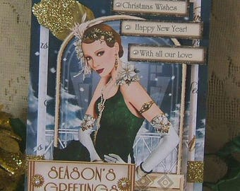 Christmas card, Hand crafted, Roaring 20s Lady, Elegant, 3D effect, Keepsake, Blues and Golds, acid free and lignin free cardstock
