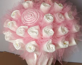 Owl Diaper bouquet -  baby girl shower decorations - baby shower centerpiece - baby shower ideas - unique new baby gift - baby blankie