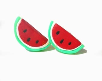 Watermelon-Lobe earrings (PIN) in Fimo woman girl