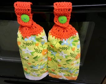 Orange Springy Crocheted Hand Towels