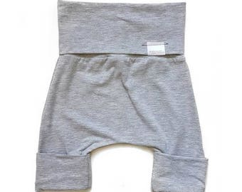 Grow with me Shorts [0-6 months] Bamboo | Heather Light Grey