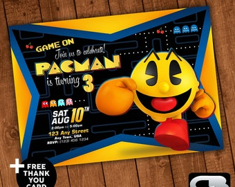 Pacman Invitation with FREE Thank You Card - Invite - Pacman Birthday Invitation - Pacman Birthday Party - Pacman Digital File Download