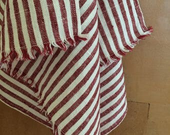 Linen Tea Towel, White Striped Linen Tea Towel, Red Striped Linen Tea Towel