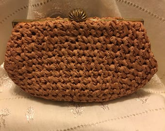 Morris Moskowitz 1940-1950 Taupe Evening Bag. Made with crocheted ribbon.