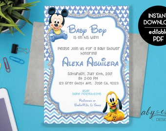 Baby Mickey Baby Shower Invitation,  Baby Shower Invitation Download, Digital Invitation, Baby Mickey Mouse Baby Boy Invitation.
