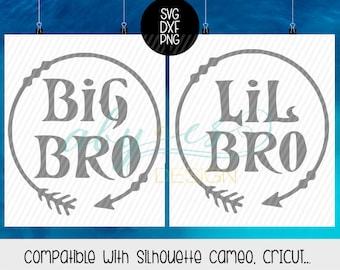 Big Bro Lil Bro SVG, Boho, Arrow, Dxf, Png, Silhouette, Cameo, Cricut