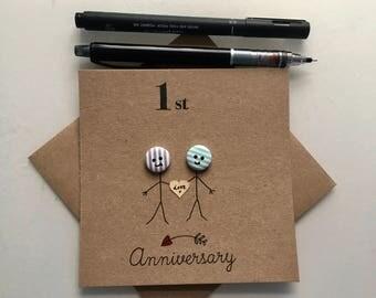 1st Anniversary Card. Button anniversary. Anniversary. Cute cards. Happy anniversary. Stick people. hand drawn. handmade. 10th anniversary