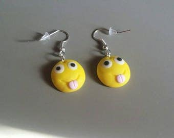 Funny Smiley Fimo polymer clay earrings