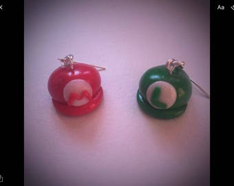 Mario and Luigi Hat earrings
