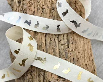 Easter gift wrap etsy 58 easter rabbit tape metallic silver or gold bunny print on cream negle Images
