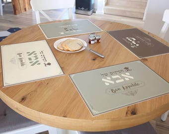 Vinyl placemat set,personal design, placemats, vintage, brown, cream and olive green, pvc,table setting,print on pvc mat