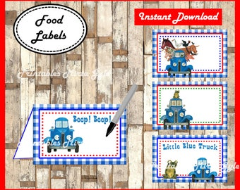 Little Blue Truck Food labels, printable Little Blue Truck party food tent cards ,Little Blue Truck food tent cards