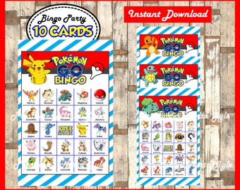 Pokemon Bingo 10 Cards, printable Pokemon Bingo game, Pokemon printable bingo cards instant download