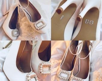 """White Wedding Heels """"I Do"""" Stiletto's Ankle Straps Size 8.5"""