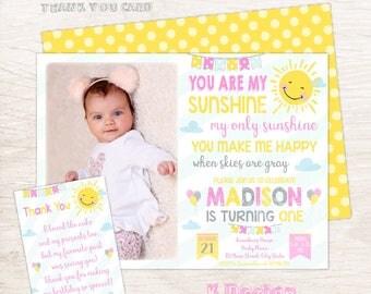 You Are My Sunshine Birthday Invitation, A Little Sunshine Invite, 1st Birthday Invitation, Sunshine Party, Girls Birthday Invitation
