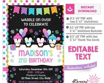 Editable Penguins Birthday Invitation ,  Winter Birthday Invitation , Winter Invitation, Instant Download, Editable Pdf