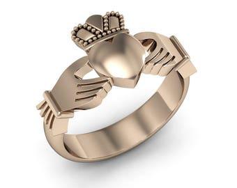 14k Solid Gold Claddagh Ring, Irish Claddagh Ring, Irish Ring, Anniversary Ring, Traditional Irish Ring, Gold Claddagh Ring, Claddagh Symbol