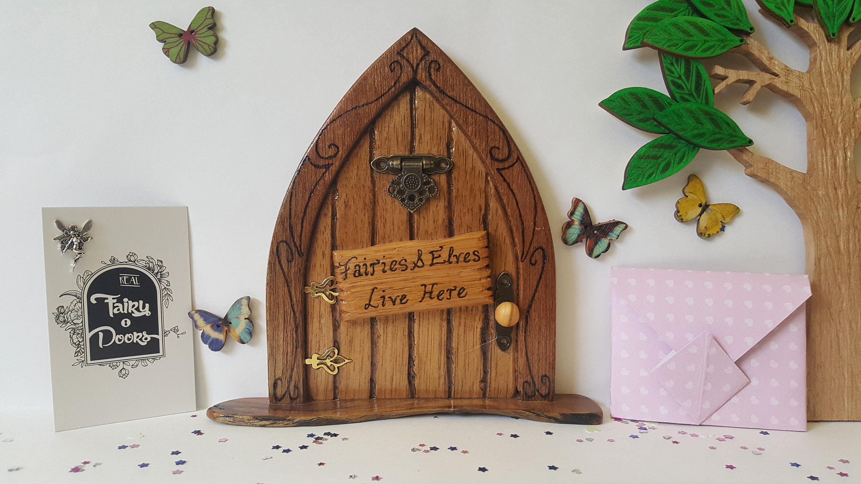 Wooden fairy door handmade with fairies elves live here for Fairy doors au