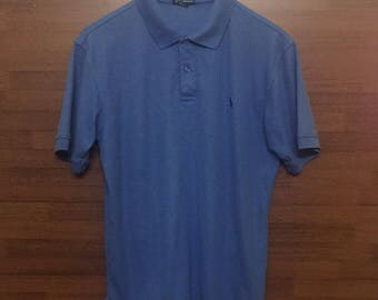 Vintage 90' POLO By RALPH LAUREN Blue Collered Polo Shirt Sz Medium Made in Usa