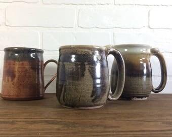 Stoneware Set of 3 Mugs / Vintage Hand Made Pottery Stoneware Set of Three Mugs / Vintage Set of Stoneware Mugs / Vintage Pottery Coffee Mug