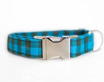 Dog Collar-Plaid Dog Collar-Buffalo Plaid Collar-Blue Plaid Collar-Blue Dog Collar-Large Dog Collar-Male Dog Collar-Custom Dog Collar