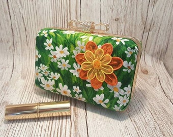 Daisy clutch bag, hand bag, prom bag,