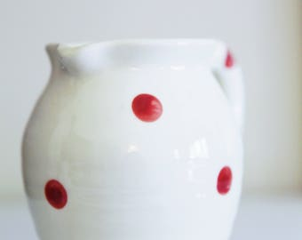 Vintage Hand Painted Pitcher , Polka Dot Pitcher , Collectible, Vase , Home Decor