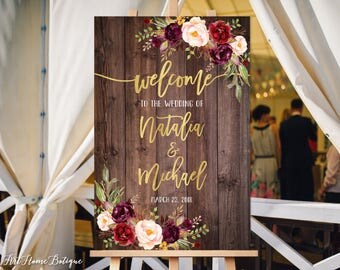Welcome Wedding Sign, Rustic Welcome Wedding Sign, Welcome To Our Wedding Sign, Wood Gold Burgundy Flowers, Printable Sign, Digital File W87