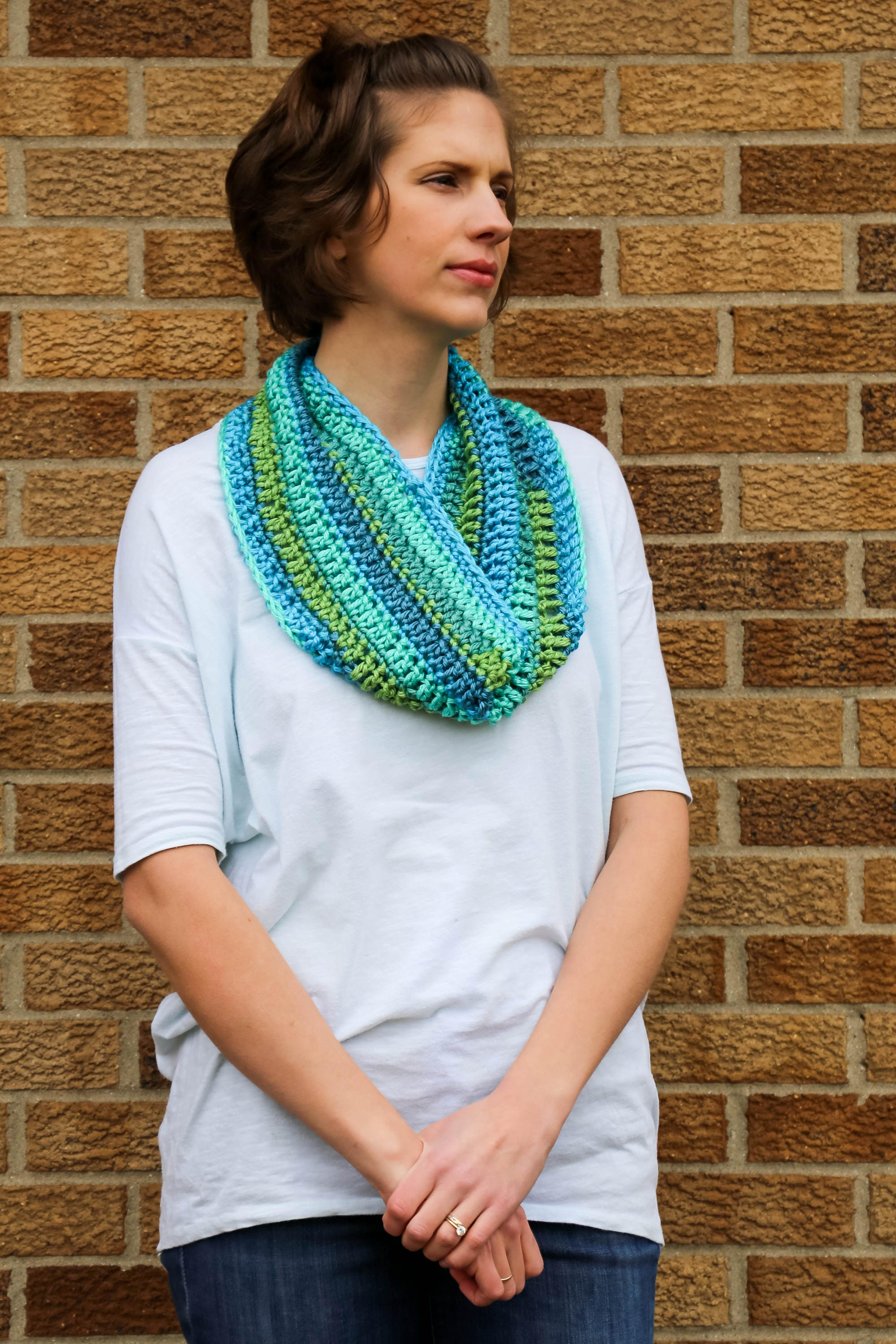 SALE! Caribbean Stripes Lacy Infinity Scarf