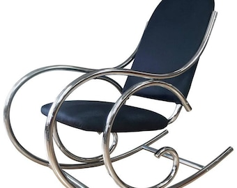 Vintage Thonet Style Tubular Chrome Rocking Chair 1970s