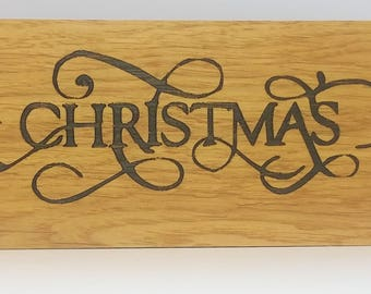 oak sign - oak plaque - personalised - christmas - rustic wall art - room decor  - christmas present - house warming - best friend