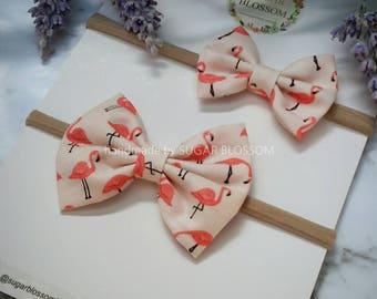 Flamingo Printed Hair Bow - Medium or Small - Baby headband - Girls headband - Fabric bow - Hair clip - Hair Accessories