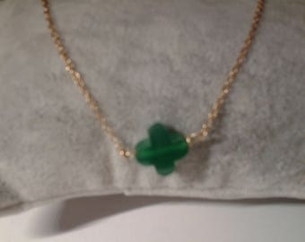Choker in plated gold with treifle Green