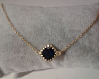 Bracellet plate gold with Navy Crystal