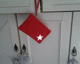 Pouch bag in suede with Silver Star pattern