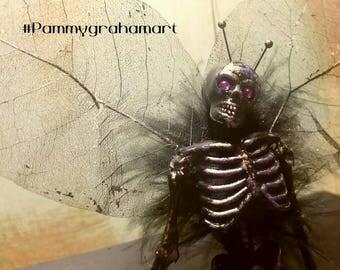 Skelly-skeleton-dead-figurine-office-halloween decor- miniature-fairies-fairy Halloween gift-bones-goth-black-purple-wings-shelf sitter-gift
