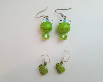 One Of A Kind 90's Fashion Jewelry-90's Childhood/90s Kid-Sanrio Surprise Keroppi Frog Dangle and Drop Earrings and Cute Tiny Frog Earrings!