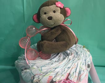 Plush Monkey with Teething Ring Mini Diaper Cake!