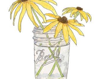 Flower Print - Watercolor Print - Art Print - Watercolor Flowers - Black Eyed Susans