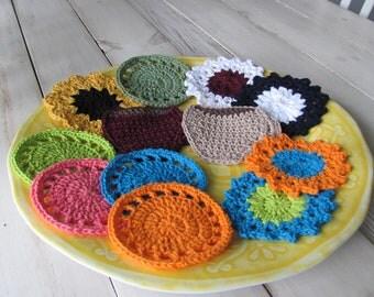 Crochet Coasters, 100% Cotton
