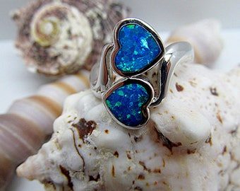 Sterling Silver Blue Opal Double Heart Statement Ring