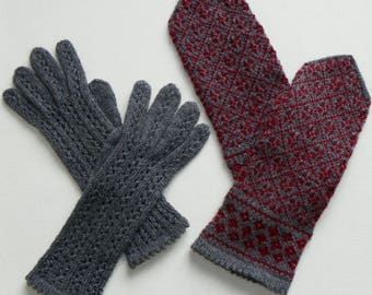 Wool gray mittens and gloves set Knitted mittens and gloves Patterned mittens and gloves Women's mittens and gloves Hand knit mittens gloves