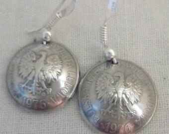 Genuine 10 Poland 1976 Groszy coins earrings.