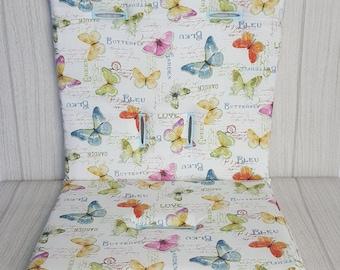 Stroller/Pram Liner made for Strider/Agile/City/Bugaboo & more - Garden Butterflies
