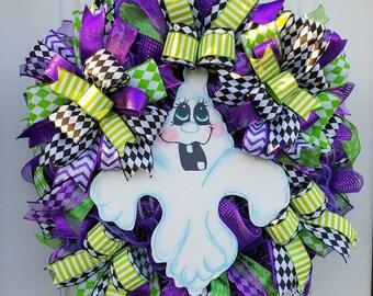 Purple Halloween Ghost Wreath, Front Door Ghost Decor, Halloween Wreath, Best Door Wreath, Wreath for Halloween, Halloween Wall Decor