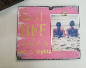 Best BFF Ever/Personalized Best friend picture frame/photo frame/Best summer ever/Gifts for bestie/Picture display/Hand Painted wall art