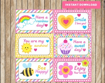 Printable School Lunchbox Notes instant download, Rainbow Lunch Box Notes, Printable School Notes