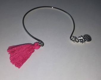 Pineapple and tassel Bangle Bracelet