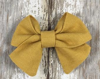 Mustard linen sailor bow